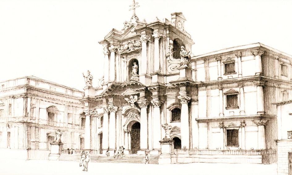 欧式建筑素描图片简单一点的