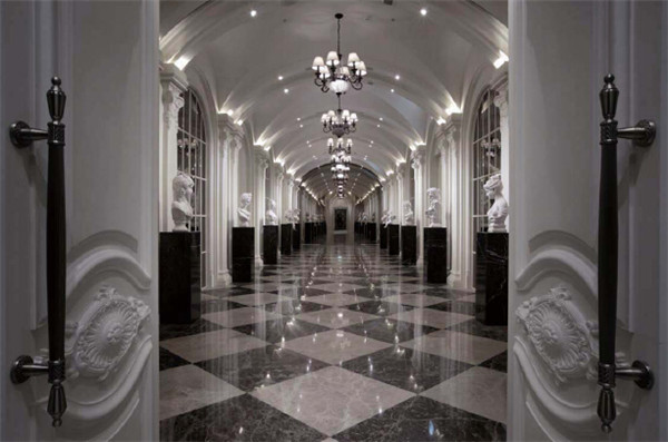 欧洲宫廷风格洗浴会所走廊设计效果图