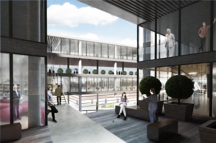 文章导读:亚达那商会总部选址很不错,毗邻于亚达那未来最大的博物馆,可以带动发展。下面,郑州办公室设计公司勃朗设计的小编与您分享的就是亚达那商会总部办公楼设计方案。  商会总部设计室其功能性很强,公共设施齐备,强调了公众参与的重要性。两座大楼(商会与博物馆)之间的区域,形成了轴线,逐渐成为亚达那文化方面的标志性建筑。建筑设计充分利用了当地的气候,通利用东北-西南向的盛行风给建筑降温,此外中庭中的蒸发池通过使外墙内的热空气上升提供了自然降温的效果。  外墙被一层垂直的木料覆盖着,可通过潜在的热负荷进行调整。