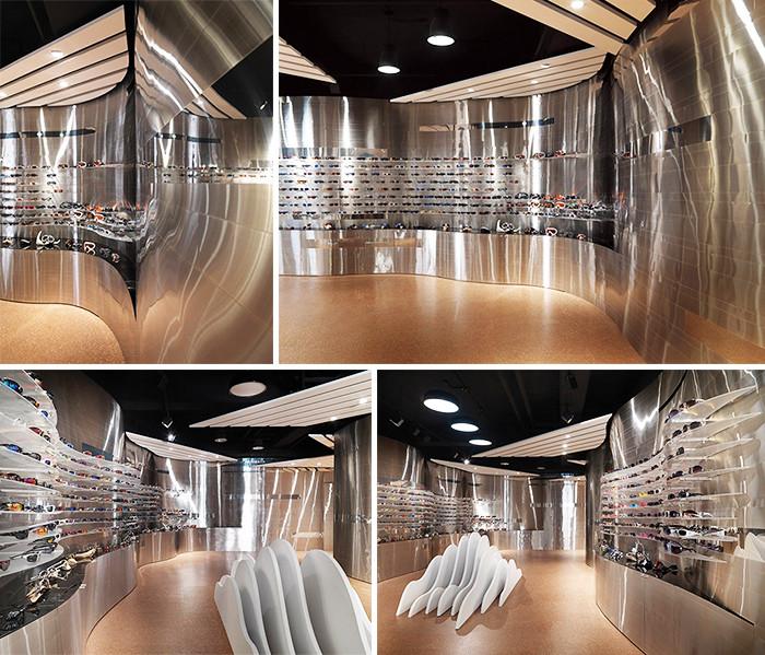 大胆而富有创意的飞翔主题眼镜旗舰店店面设计案例图片