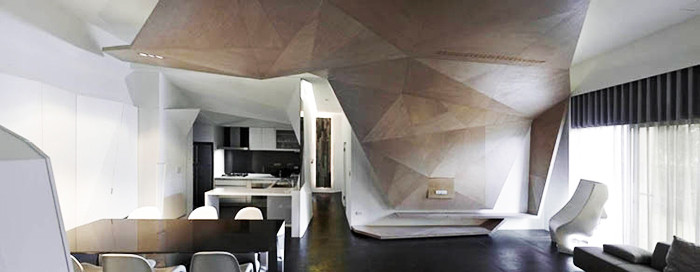 折叠空间 结构主义楼中楼创意别墅设计效果图