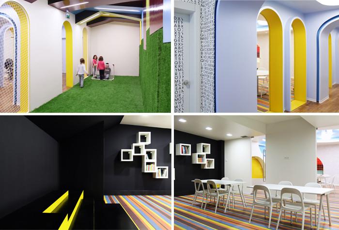 文章导读:一个多彩的空间能给孩子们带来良好的想象活动空间,于是注重孩子身心发展的家长们注意到这点,乐于将自己的小孩置活动于高彩度的环境。因此原本坐落于葡萄牙里斯本 (lisbon) 的一间健康俱乐部被当地建筑公司ESTUDIO amatam 加以改造成了小朋友们的梦想天堂「Kalorias 儿童空间」。   整个俱乐部占地面积为 410 平方公尺,改造两间大房间与一间大厅,保留旧结构加入新元素,帮助学生进入一个如遨游想象的真实世界。会所设计中照明配合设彩条纹创造出一个满溢活力之境,俄罗斯方块山可让小孩于活
