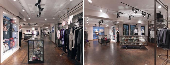 文章导读:在英国知名庞克品牌Vivienne Westwood此案的设计里,设计师采用较为内敛隐调的设计风格,在白色的主基调下,是深色系的乱纹木地板,象是将庞克的灵魂都压制在了内里,陈设架则配合着木地板,简洁有力的释放出店面的最大空间。  Vivienne Westwood身为英国庞克的时尚领头,时装里满怀着理想的傲骨,有着狂放不羁的设计风格,因此店面设计师未选择显眼的色调配合其外放的庞克风格,反而选择将舞台留给了品牌物件,整个场域就象是为来客精心打造却又不喧宾夺主的rocker展台。  在灯光的运用上,