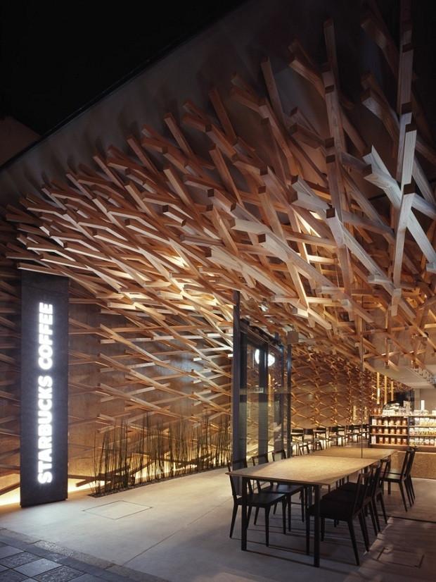 3D视觉 日本福冈独特的星巴克店面设计效果图高清图片
