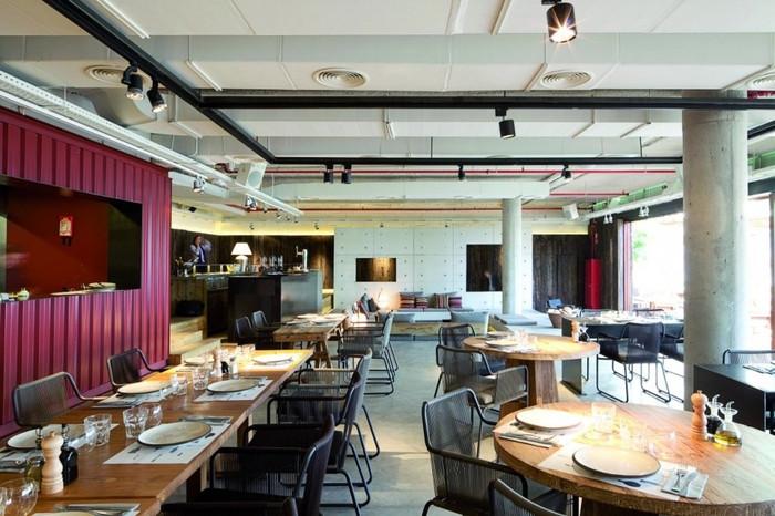 国外开放式明亮工业复古风餐厅设计效果图