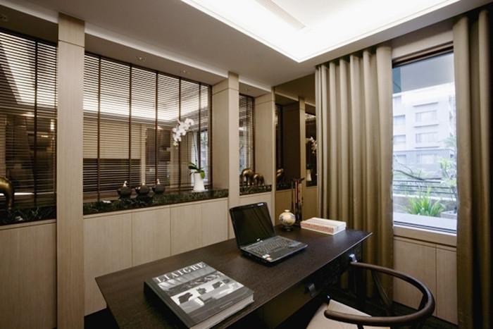 现代中式别墅书房设计