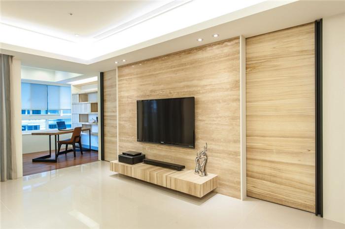 木质简约别墅电视背景墙设计