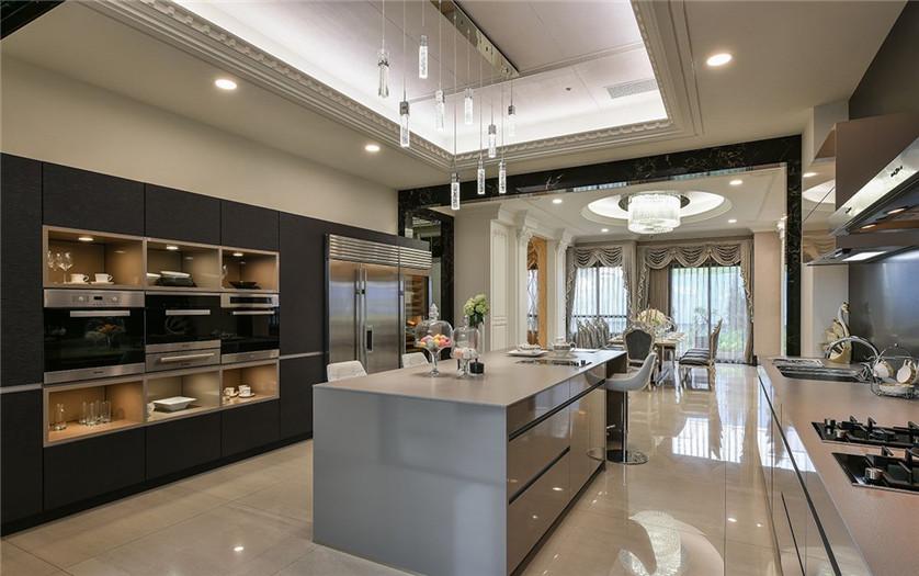 别墅样板间厨房设计-周口古典奢华美宅样板房装修设计方案