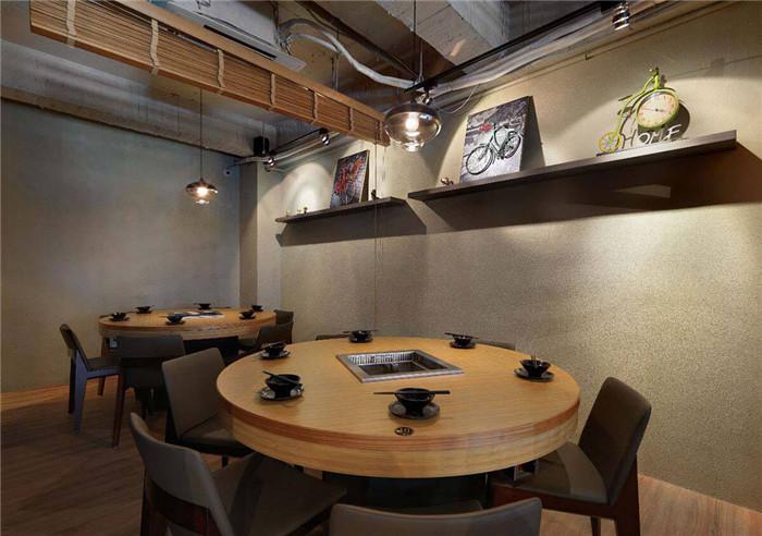 工业风与日式禅意混搭的鸳鸯火锅店包间装修设计方案