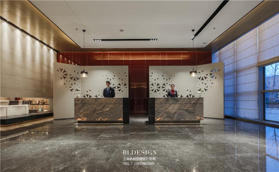郑州铭汇文华酒店大堂接待吧台装修设计实景图